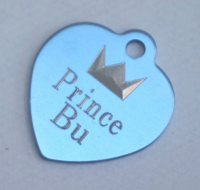 HEART SHAPE DOG TAG WITH CROWN & PRINCE & NAME & PERSONLAISED ON REVERSE